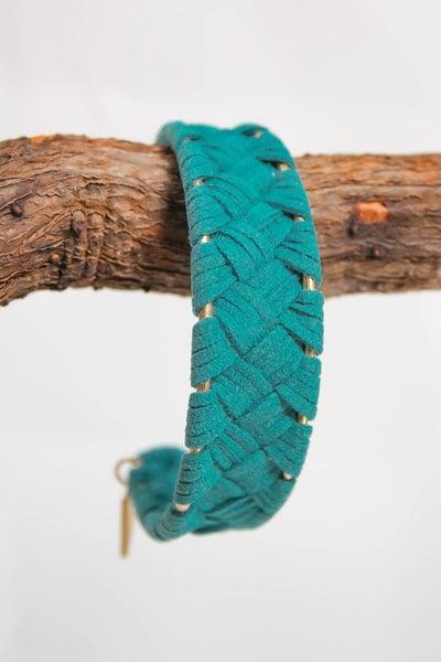 Erimish Rachel Suede Cuff Bracelet Turquoise