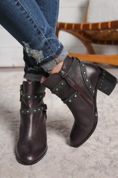 Pure Class Genuine Suede Leather Booties Chocolate