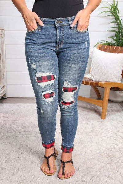 Plaid Patch Mid Rise Skinny Jeans *Final Sale*