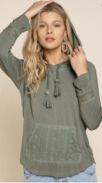 Hoodie With Crochet Front Pocket