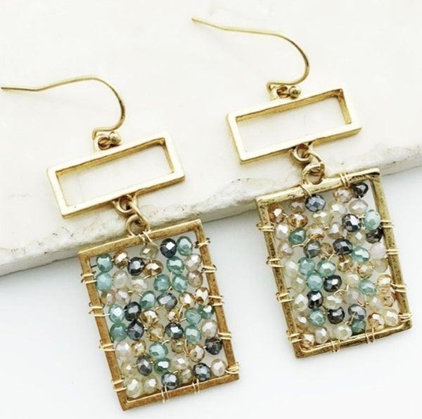 Beaded Rectangle Earrings