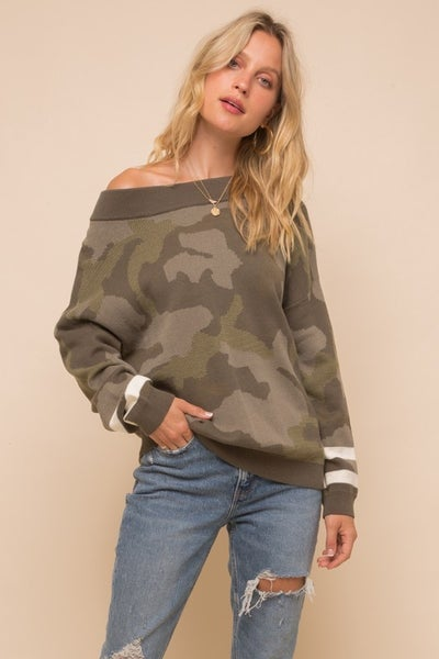 Camo Pullover with Stripe Sleeve Detail