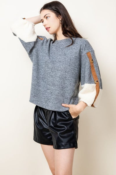 Button Sleeve Rib Sweater