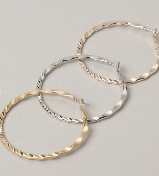 Textured Metal Hoop Earrings (3 colors)