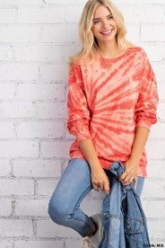 Coral Mixed Tye Dye Long Sleeve Tee