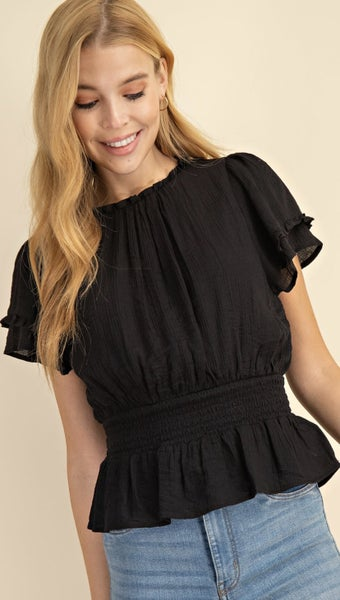 Smocked Waist Solid Top