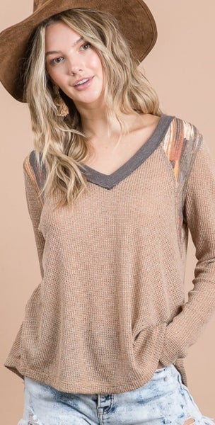 Sweater Knit Contrast Top