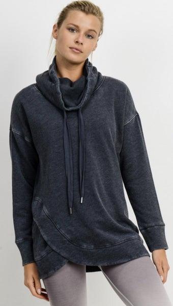 Cowl Neck Overlay Sweatshirt