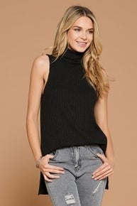 Turtleneck Wide Rib Tunic with Zipper Detail (2 colors)