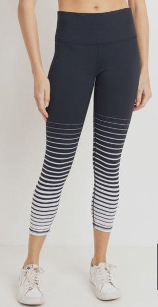 Graduated Stripe High Waist Capri Legging