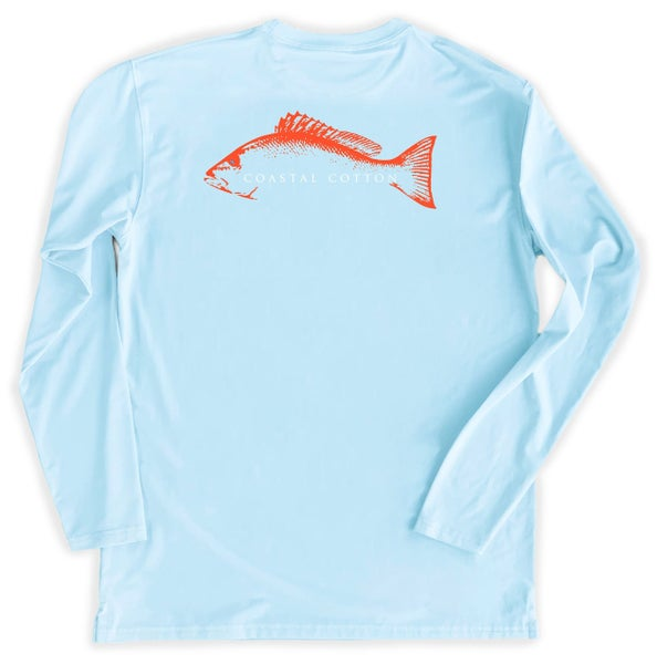 Coastal Cotton Sky Snapper Long Sleeve Performance Tee
