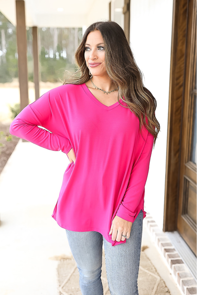 True To You Top- Hot Pink- Deal of the Day