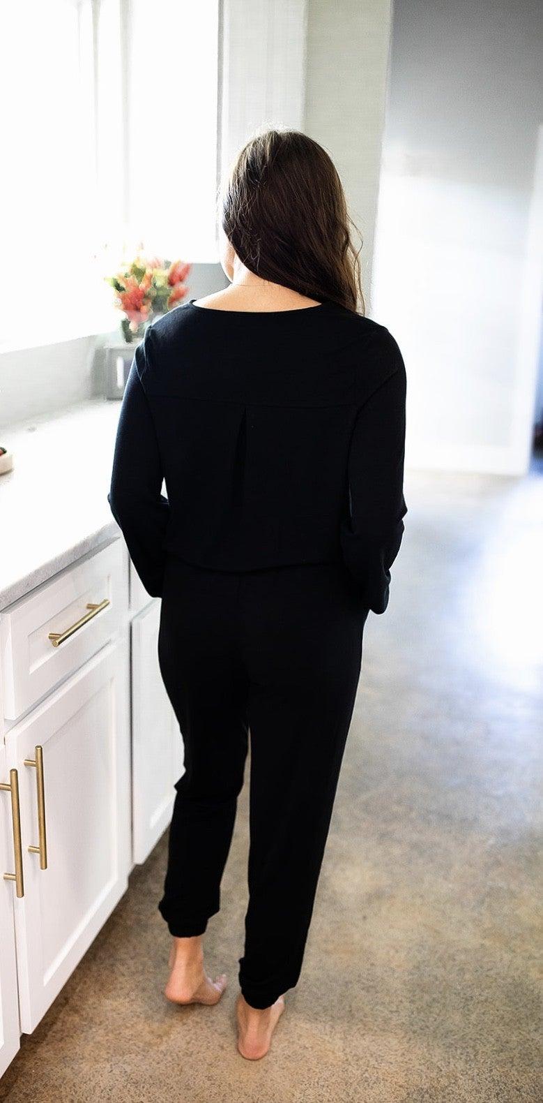 It's A Match Jumpsuit- Black