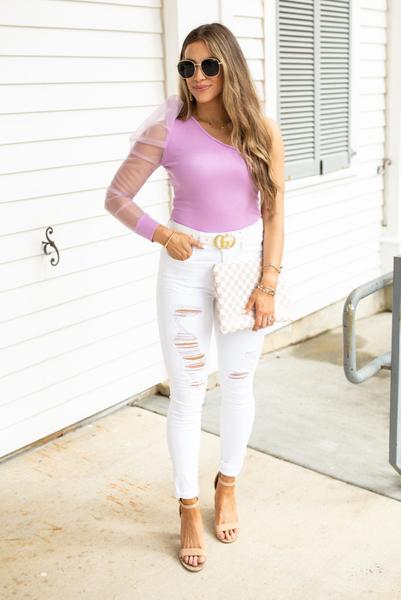 Posh Presence Bodysuit-Lavender