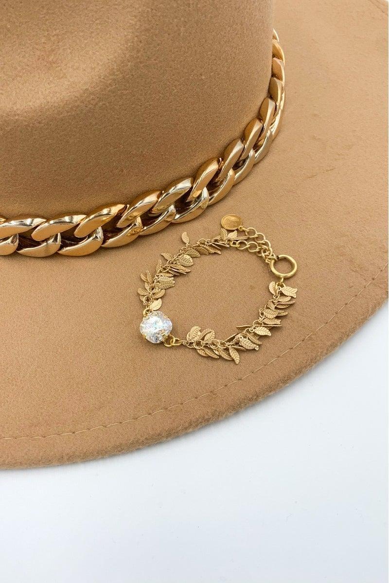 Victoria Lynn 12mm Leaf Bracelet - White Patina