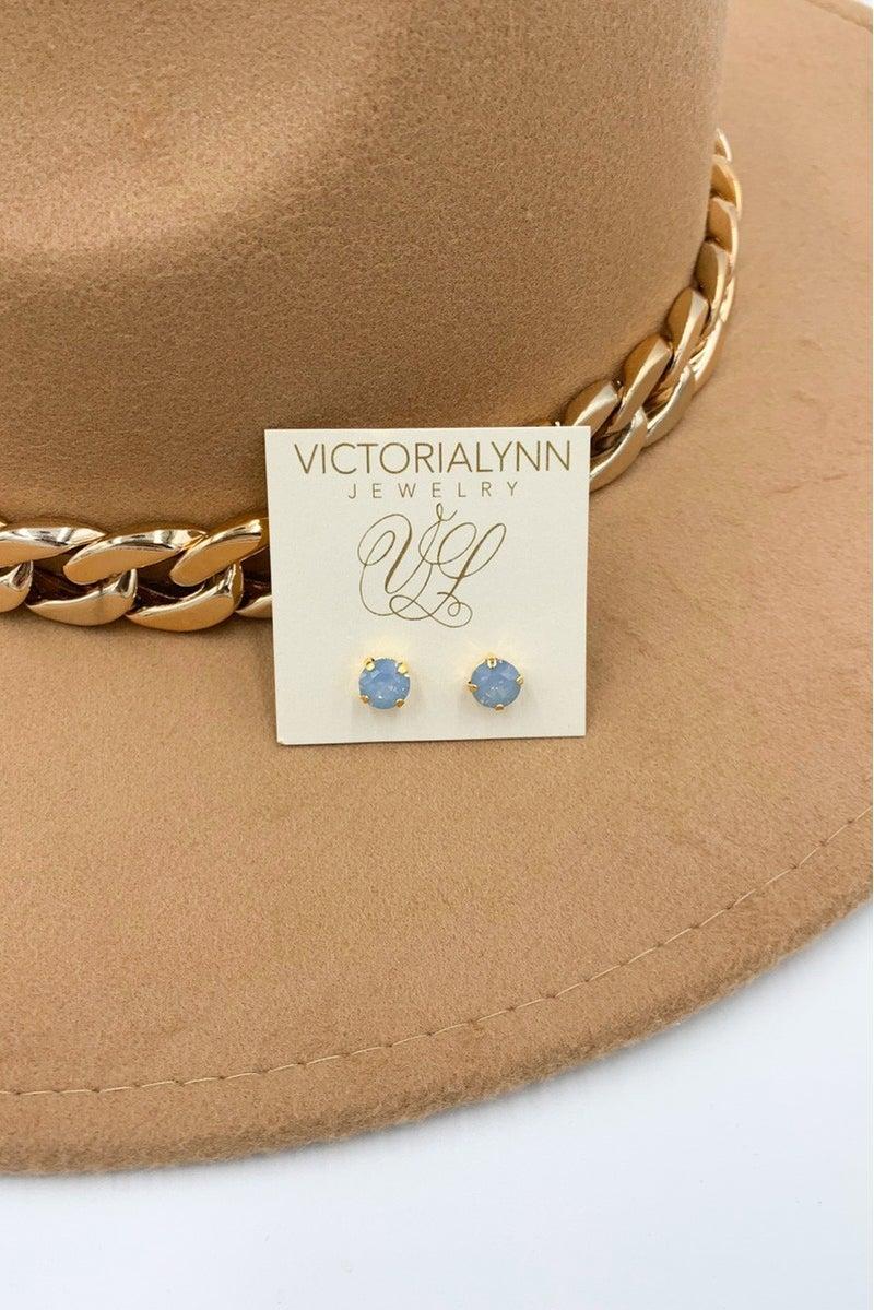 Victoria Lynn 8mm Round Stud - Air Blue Opal
