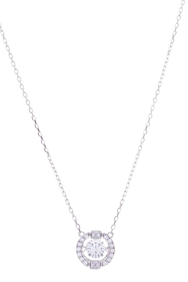 Victoria Lynn CZ Floating Crystal Necklace - Silver