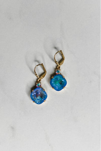 Victoria Lynn 12MM Crystal Top Dangle Earrings - Ocean Delite