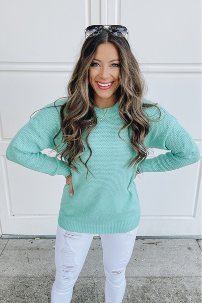 Letting Time Pass Sweater - Mint