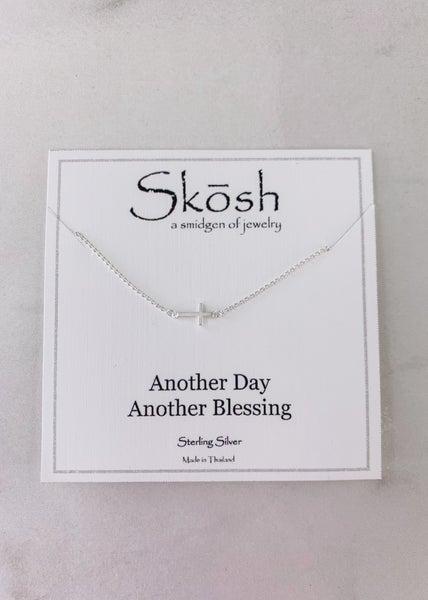 Tiny Sideways Cross Skosh Necklace