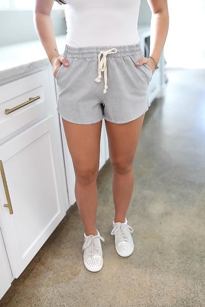 Lots Of Love Shorts-Gray
