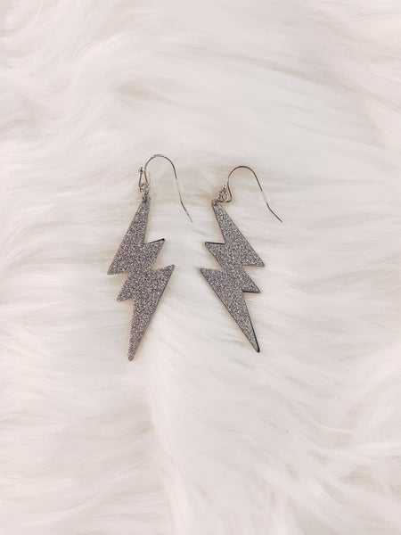 Bolt Of Happiness Earrings - Silver