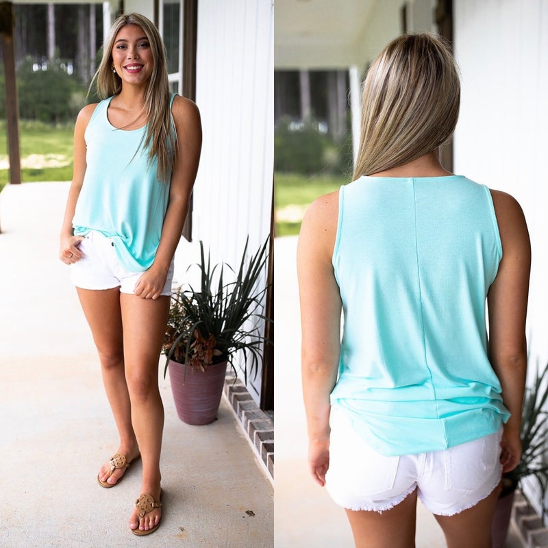 Dressed To Thrill Top- Blue Mint- Deal Of The Day