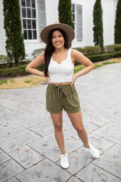 Rumor Going Around Shorts-Olive