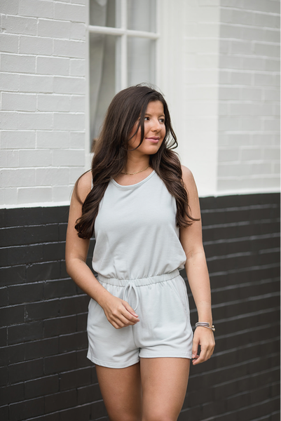 Impossible To Leave Romper - Lt. Blue