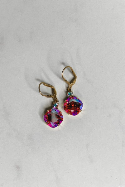 Victoria Lynn 12MM Crystal Top Dangle Earrings - Fuchsia
