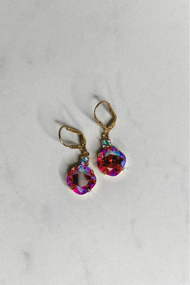 Victoria Lynn 12MM Crystal Top Dangle Earrings - Fuchsia