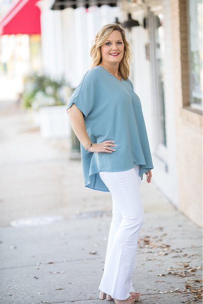 Breathe Again Top - Blue Grey - Deal Of The Day