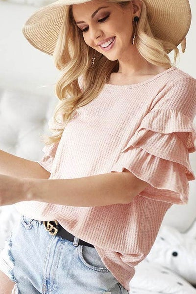 Waffle Knit with Three Layer Ruffled sleeve top - 3 Color Options