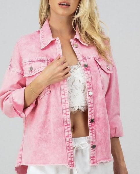 Acid washed pink jean jacket