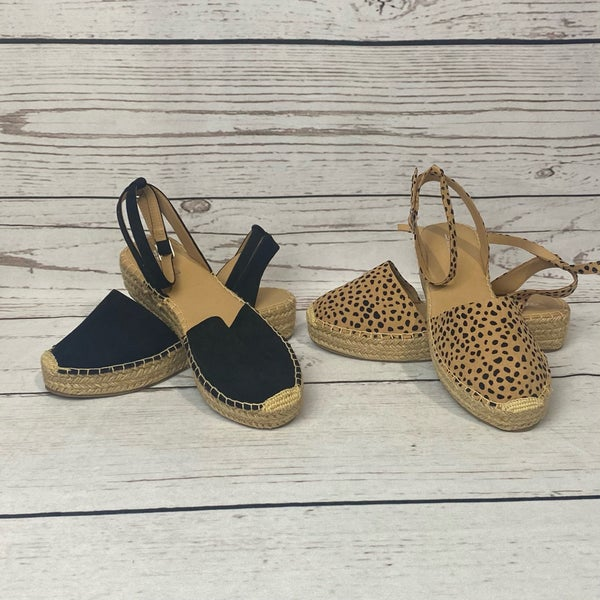 Black or Cheetach Espadrille Sandal