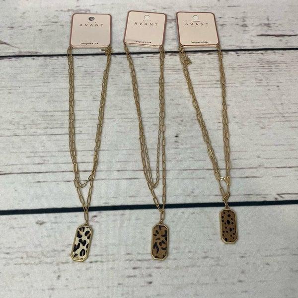 Animal Print Pendant Layered Necklace