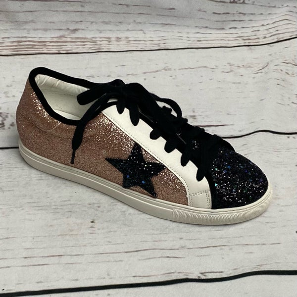 Glitter Star Shoes Black & Rose Gold