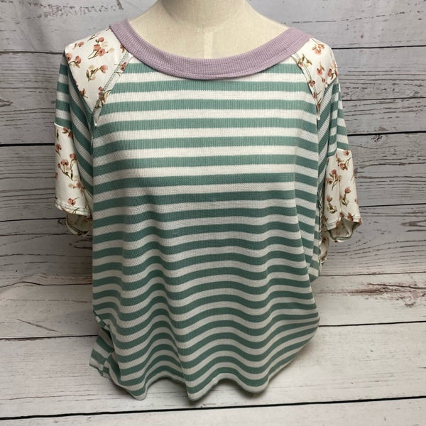 Mint/White Stripe Top with Floral Sleeves