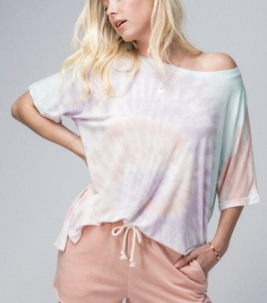 Cotton candy swirl tie dye crew neck T-shirt