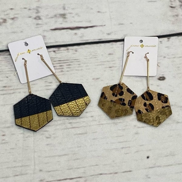 Dangle Fringe Earrings Black & Gold or Cheetah & Gold