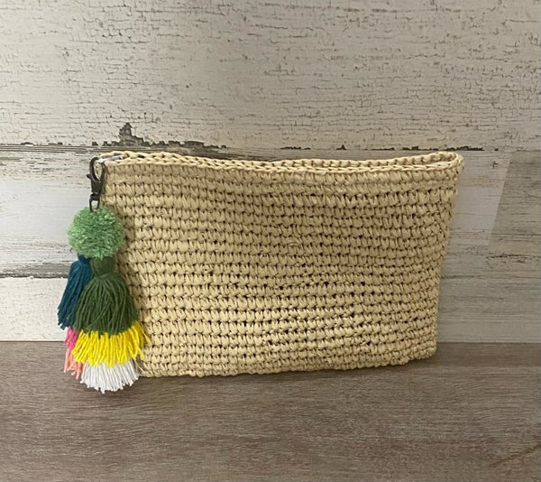 Raffia Zip Top Clutch with Colorful tassle