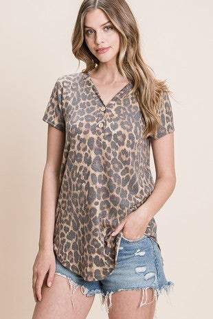 Short Sleeve Leopard Print V-Neck Top with Button detail