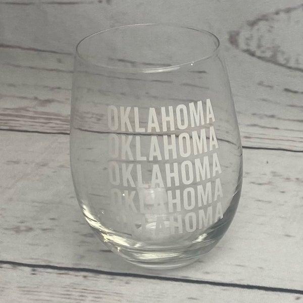 Oklahoma Stemless Wine Glass