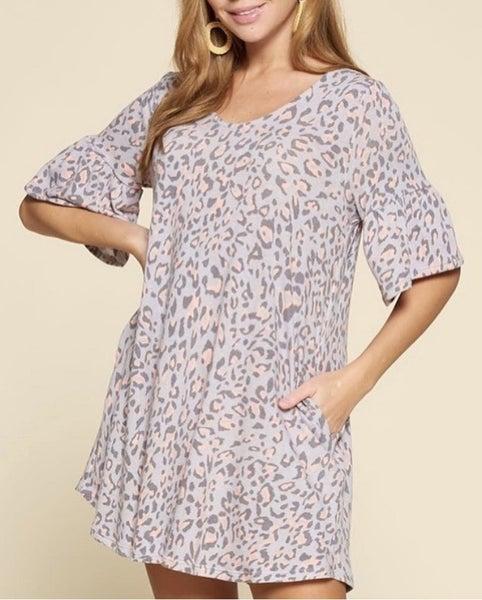 Pink & Grey Animal Print Tunic/Dress Plus Size