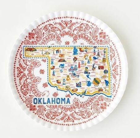 Oklahoma Round Melamine Platter 16 inch