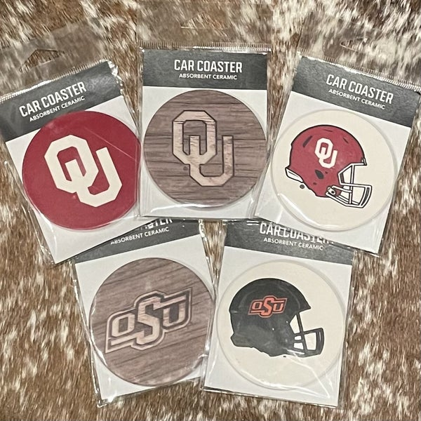 Absorbent Ceramic Car Coaster Collegiate OU/OSU