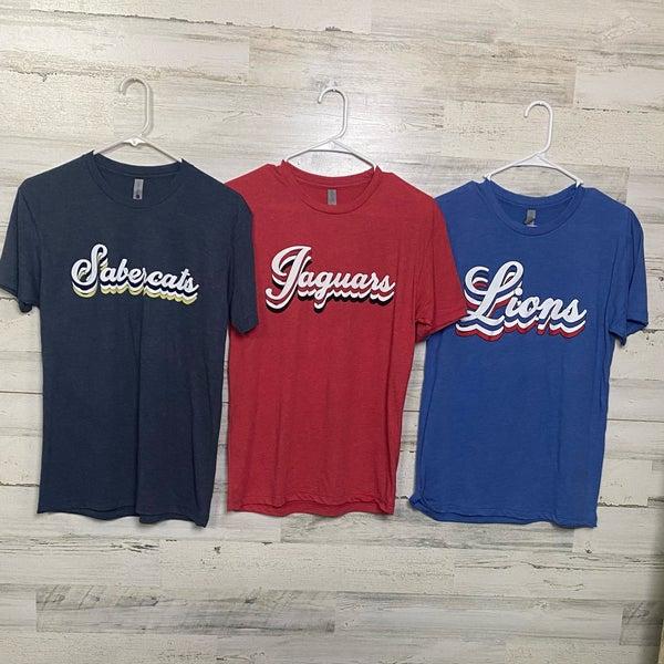Local High School Stacked Mascot Print T-shirt WHS, MHS, SHS