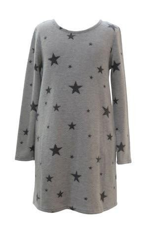 Kids Long Sleeve Grey Star Pattern Dress