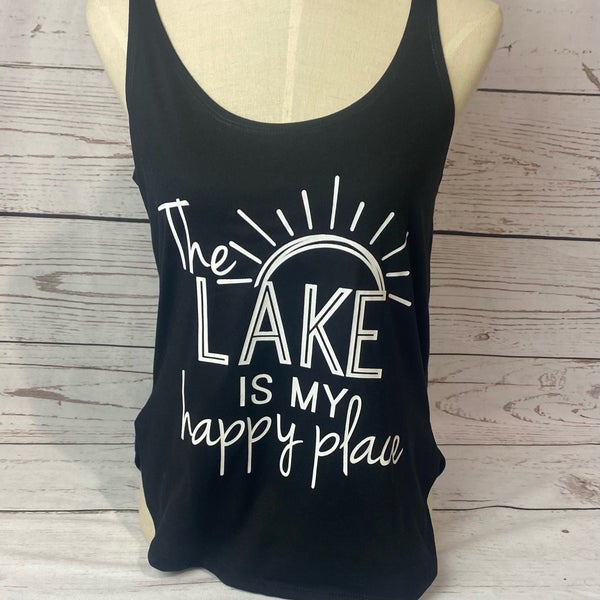 The Lake is My Happy Place Black Tank Top