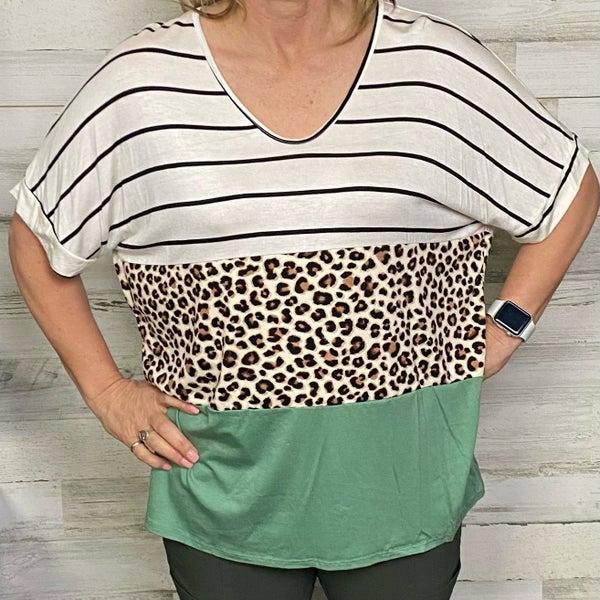 Color Block Leopard, Stripe and Olice V-Neck Top